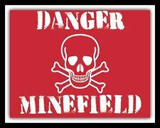 DANGER MINEFIELD WORLD WAR MINES BOMB WARNING METAL PLAQUE TIN WALL SIGN 1206