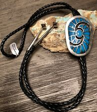 Gem Turquoise Inlay Bolo Tie Must See Amazing Navajo Carl & Irene Clark Sterling
