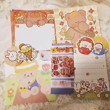 Happy Bear Stationery Set 18 pcs (Memo Sheets, Sticker Flakes, Etc)