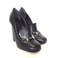 L-3878175 New Gucci Scar Pelle Black Horsebit Heels Shoe Size US-8.5 Marked-38.5