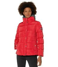 Tommy Hilfiger Short Down Alternative Coat With Zipout Fleece Size Small In Red