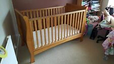 Izziwotnot Bailey sleigh cot bed in oak & silentnightmattress in Good condition
