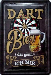 Schild Blechschild 20x30 cm Dart und Bier gönn ich mir Bar Kneipe Sport Fun
