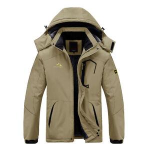 Men's Thick Fleece Jacket Outdoor Ski Snowboard Warm Coat Causal Hooded Workwear