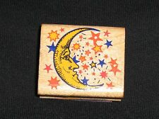 Vintage INKADINKADO Moon & Stars Rubber Stamp Wood #2421 Moon is Frowning