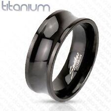 Black Titanium Mens Polished Concave 8mm Band, Ring Size 12