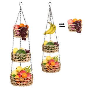 3 Tier Hanging Fruit Basket Kitchen Vegetable Rack, Handmade Paper Rope Woven
