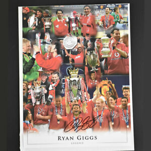 Ryan Giggs Manchester United Signed Montage - With COA