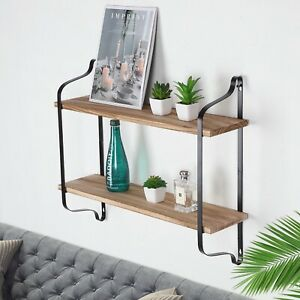 2 Tier Wood Shelves Wall Mounted Floating Shelf Metal Hanging Storage Rack Unit
