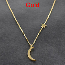 Moon Star Pendant Choker Necklace Gold Silver Long Chain Women's Jewelry