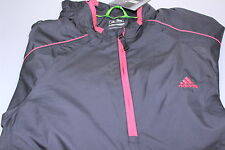 Adidas Climaproof Wind Resistant Half Zip Stretch Golf Wind Jacket Black/Red S