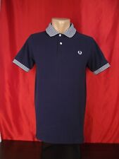 """Fred Perry Mens S Small Polo Shirt Dark Blue Navy Short Sleeves Striped 19"""""""