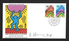 KEITH HARING SIGNED FDC 1985 WFUNA..CANCELED AND STAMPS...MINT