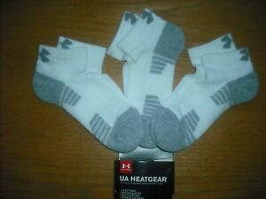 Boys NWT UNDER ARMOUR Low-Cut Socks 3prs White Gray Arch Support SOFT Ages 8-11