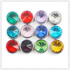 12p Birthstone Crystal Slide Charms For 8mm Pet Collar Wristband Bracelet SL359