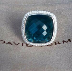 David Yurman Sterling Silver Albion 20mm, Hampton Blue Topaz & Diamond Ring S 8