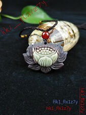 2018 Fashion Natural Jade Lotus Necklace Pendant Hand-Carved Lucky Amulet Hot
