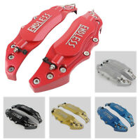 Pair Car 3D Metal Brake Caliper Covers Universal Front & Rear Large Colorful Red