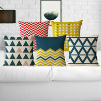 Cotton Linen Geometric Stripes Sofa Waist Cushion Cover Home Decor Pillow Case