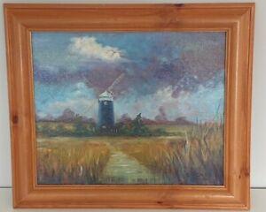 "Original oil painting - ""Norfolk Windmill"""