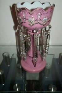 Victorian large lustre vase pink colour with hand design crystals & glass centre
