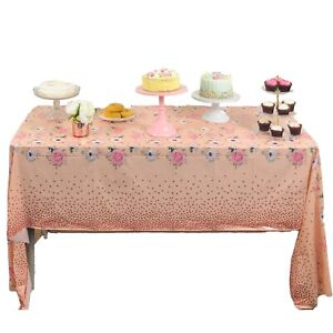 ROSE GOLD TABLE COVER CLOTH TABLECOVER TABLECLOTH PARTY PINK FLORAL RECTANGLE