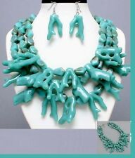 Chunky Blue Turquoise Sea Coral Multi Layered Bead Necklace Earrings SET Plastic