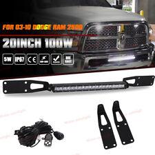 For 03-10 Dodge Ram 2500 20IN Hidden LED Light Bar Bumper Mounts Wiring Kit