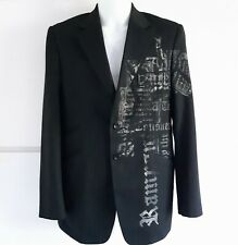 Mens Guide London Quirky Artisan Medieval Writing Jacket Blazer Size XL 42 Goth