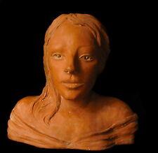 Buste de femme signé Ventili Viale Sculpure en terre-cuite Woman bust terracotta