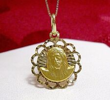 14K YELLOW GOLD REVERSIBLE 3D VIRGIN MARY & JESUS CHRIST ETCHED PENDANT NECKLACE