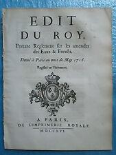 EDIT 1716 : REGLEMENT SUR LES AMENDES DES EAUX & FORÊTS, 20 pages.