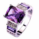 Women Emerald Cut Gemstone 18k White Gold Plated Silver Rings Jewelry Size 6-13