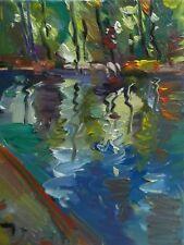 JOSE TRUJILLO OIL PAINTING IMPRESSIONIST REFLECTIONS SUNRISE POND TREES NATURE