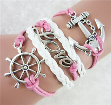 Retro Infinity Love anchor Friendship Leather Charm Windmill Bracelet Silver New