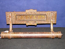 "VINTAGE BRASS DOOR Mail Slot ""Letters"" Hardware with bottom rail - Unique Old"