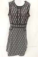 WORTHINGTON Dress Women's M Black White Pattern Sheath Flare Knee Length Dress