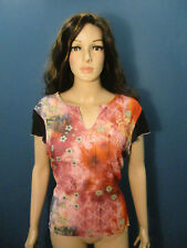 plus size 1X pink red black psychedelic semi-sheer designer blouse by B'WEAR