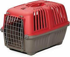 Dog Cat Carrier Plastic Crate Travel Cage With Handle Door For Small Dogs Pet