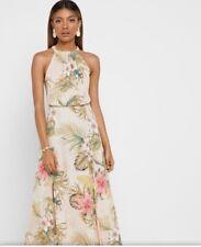 Woman flower print, halter neck   dress size S UK 8 new,mango