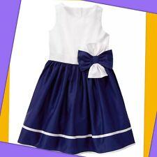 NWT Girls 4 Gymboree Girl EGG HUNT FORMAL cotton SHEEN Navy Blue & White DRESS