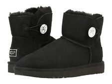 NEW UGG Women's Swarovski Crystal Mini Bailey Button Bling Boots Shoes Black