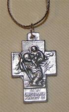 Handsome St. Christopher Jesus Mary Joseph Holy Family Cross Pendant Necklace