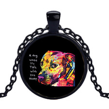 Vintage Gratitude Pitbull Neon Black Cabochon Glass Necklace chain Pendant
