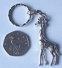 SILVER CUTE LARGE GIRAFFE KEY RING KEYCHAIN CHARM