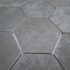 Peaks Graphite Textured Hexagon Porcelain Mosaic Tile Sheets Bathroom Kitchen
