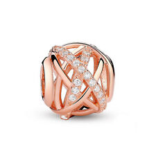 Rose Gold Galaxy Openwork Charm Bead fits European Bracelets for Valentine Gift