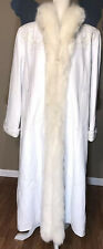 Chosen Couture Collection Vintage White Leather CoatFox Fur Trim size Medium