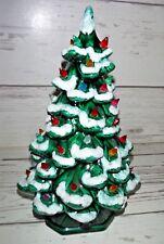 "Vintage 12"" Green Ceramic Christmas Tree with Snow"