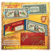 24KT GOLD 2020 Chinese Lunar New Year YEAR OF THE RAT Genuine US $1 BILL LTD 888